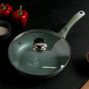 Сковорода 24 см с ручкой, стеклянная крышка, АП, фисташковый мрамор