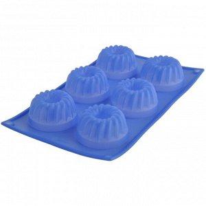 Форма для кексов, 6 ячеек, размер 30х17,5х3,8 см