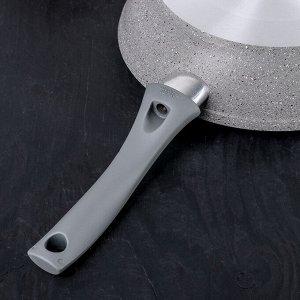 Сковорода 24 см, с ручкой, антипригарное покрытие, светлый мрамор