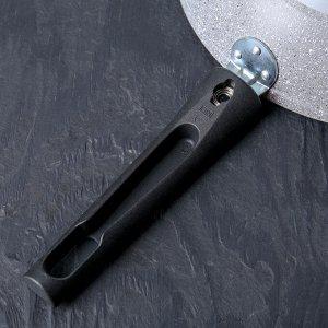 Сковорода, d=24 см, съёмная ручка, антипригарное покрытие, цвет светлый мрамор
