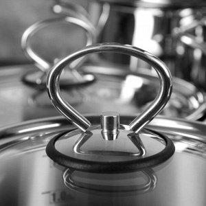 """Набор посуды """"Орхидея. Классика"""" 5 предметов: кастрюли 2,3 л, 3,5 л, 4,5 л, ковш 1,6 л, сковорода 2 л, капсульное дно, стеклянные крышки"""