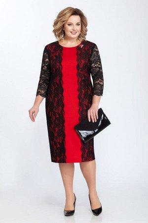 Платье Платье Pretty 817 красный/черный  Состав: Вискоза-30%; ПЭ-66%; Эластан-4%; Сезон: Весна-Лето Рост: 164  Платье двухслойное, облегающего силуэта. Нижнее платье из трикотажа с нагрудными вытачка
