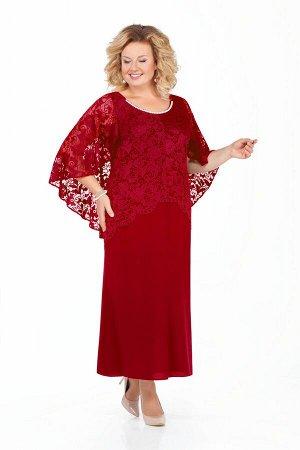 Платье Платье Pretty 920 бордо  Состав ткани: Вискоза-20%; ПЭ-80%;  Рост: 164 см.  Наряд из плательной ткани с отделкой из гипюра. Платье полуприлегающего силуэта с расширением от бедер к низу. Перед