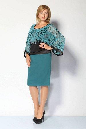 Платье Платье IVA 1531 зеленый  Рост: 164 см.  Нарядно-повседневное платье с цельнокроенными рукавами, отрезное чуть ниже от линии талии. Низ платья (юбка) заужена. Верх платья состоит из трикотажног