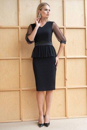 Платье Платье ЮРС 19-948/1  Состав ткани: Вискоза-67%; Спандекс-4%; Нейлон-29%;  Рост: 164 см.  Очень женственно и соблазнительно смотрится черное платье, оно будет подчеркивать красивые локоны, скры