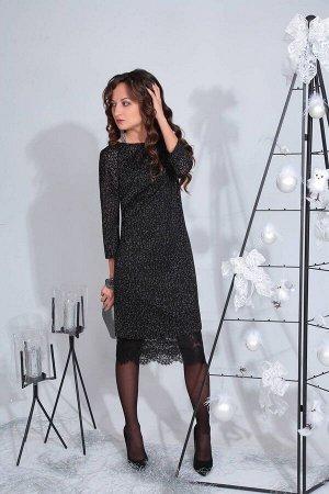 Костюм Костюм ElPaiz 479  Рост: 164 см.  Комплект женский, состоящий из двух платьев. Нижнее платье прямого силуэта, на бретелях. По горловине спинки и низу платья находится кружево. Верхнее платье п