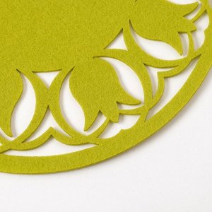 "Салфетка декоративная Доляна""Тюльпаны"" цвет зеленый,d 30 см, 100% п/э, фетр"