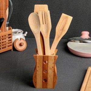 Набор кухонных принадлежностей «Бамбук», 4 предмета, на подставке