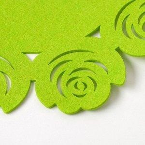 "Салфетка декоративная Доляна""Цветы"" цвет зеленый,d 30 см, 100% п/э, фетр"
