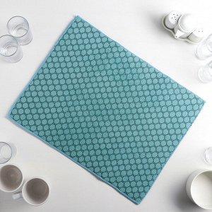 Салфетка для сушки посуды Доляна «Дотт», 38?51 см, микрофибра, цвет бирюзовый