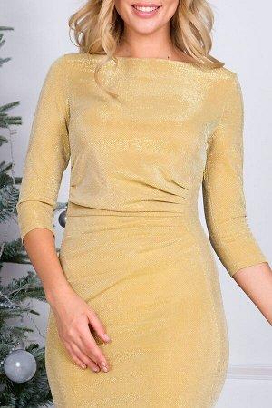 Платье Эшли из трикотажа -люрекс золото П-184-2