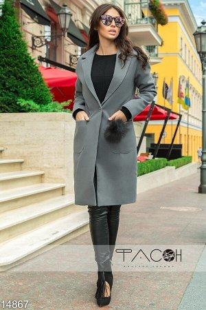 Пальто кашемировое с мехом