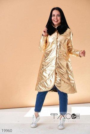 Пальто асиметричное стеганое