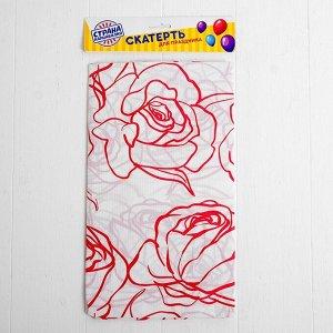 Скатерть «Розы», 108х180 см, цвет красный