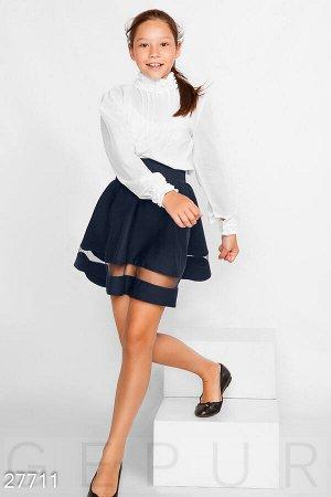 Однотонная школьная юбка