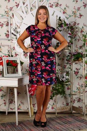 Д405 Платье Марго (сине розовые цветы)