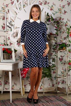 Д438 Платье Валерия футер двунитка (Горох)