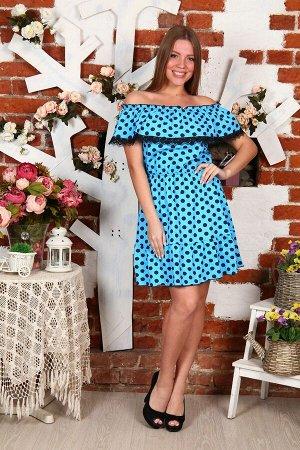 Д463 Платье Азалия (Горох на голубом)