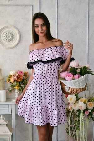 Д463 Платье Азалия (Горох на розовом)