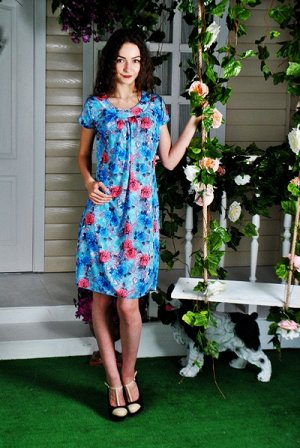 Д406 Платье Марго (цветы на голубом)