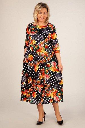 Платье Мария-2 горох-цветы красные