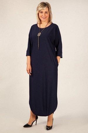 Платье черный, т-синий,   т-голубой,  красный,  длина платья в 50 размере – 128 см. Состав: 58% вискоза, 40% полиэстр, 2% эластан. Эффектное длинное платье прямого свободного силуэта с цельнокроеным р
