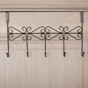 Вешалка надверная на 5 крючков «Вензель», 38х22,5х10 см, цвет чёрный