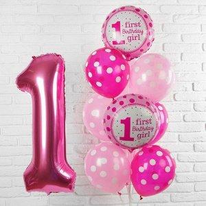 """Букет из шаров """"Первый день рождения малышка"""", фольга, латекс, набор 13 шт."""