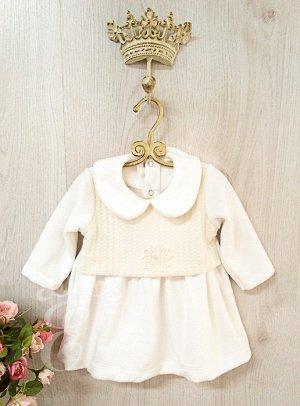 Платье Велюр вязаная кокетка 556-П