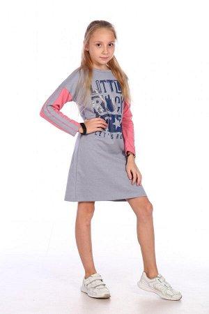 Платье Характеристики: Состав- хлопок 68%, пэ 32%; Материал: Футер двухнитка начес Стильное платье с небольшим начесом, в спортивном стиле, однозначно понравится юным модницам.