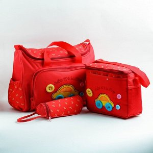 Набор сумок для вещей малыша, 2 шт., с ковриком для пеленания и термосумкой для бутылочки, цвет красный