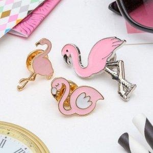 "Набор значков ""Фламинго"" цвет розовый"
