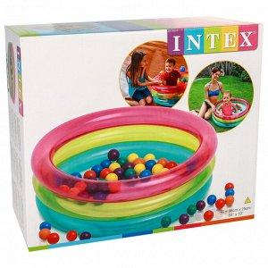 Бассейн надувной, 86 х 25 см, с шариками 50 штук, 1-3 лет, 48674NP INTEX