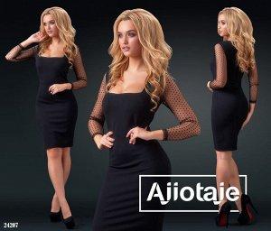 Платье Платье миди с вырезом каре.  Цвет - черный.  Материал - трикотаж алекс, сеточка.