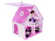 """Домик для кукол """"Дачный дом Варенька"""" бело-розовый (с мебелью) 000256"""