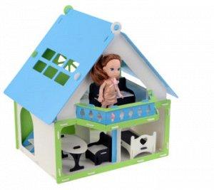 """Домик для кукол """"Дачный дом Варенька"""" бело-голубой (с мебелью) 000257"""