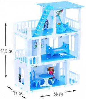 """Домик для кукол """"Дом Маргарита"""" бело-голубой (с мебелью) KRASATOYS 000272"""