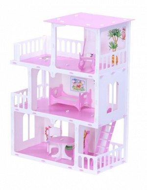 """Домик для кукол """"Дом Маргарита"""" бело-розовый (с мебелью) KRASATOYS 000273"""
