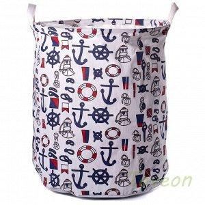 """Корзина для белья малая, текстильная с завязками """"якорь"""" к-0113"""