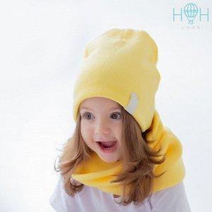Зимняя вязаная шапка с нашивкой воздушный шар, желтая