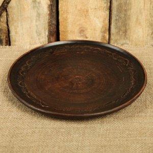 Тарелка d=24 см плоская, с декором (1сорт)