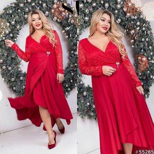 Платье Материал: Масло+гипюр; Цвет: Красный; Размер на фото: XL; Параметры модели: 100-72-102; Рост модели: 163 Восхитительное суперстильное платье макси длины станет удачной инвестицией в гардероб мо