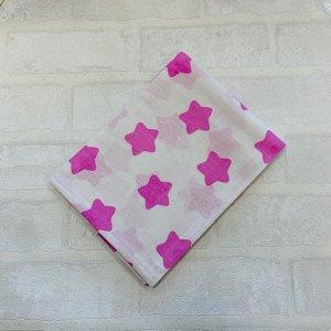Наволочка 40х60 Белая, розовые звёзды