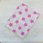 Простынь 100х155  Белая, розовые звёзды