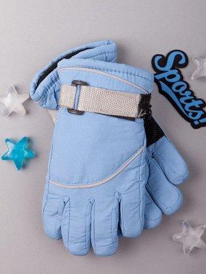 Перчатки-дутики зимние детские, ремешок на липучке, голубой