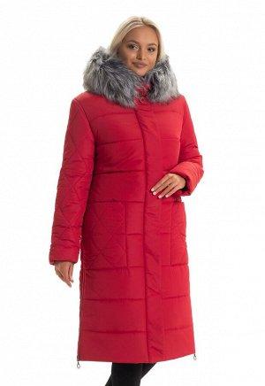 Красный длинный пуховик с мехом Код: 137 красный. мех