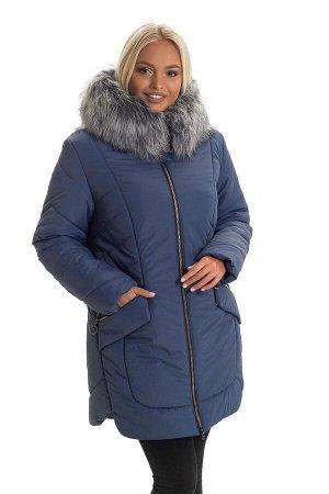 Женская куртка с мехом зима Код: 132 джинс. Мех