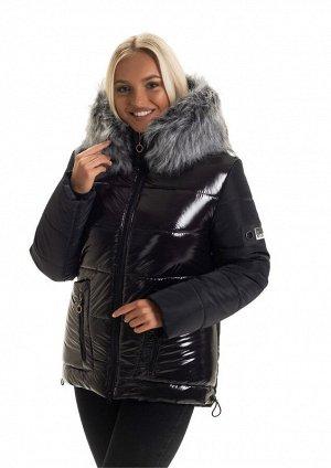 Модная чёрная зимняя куртка Код: 139 мех