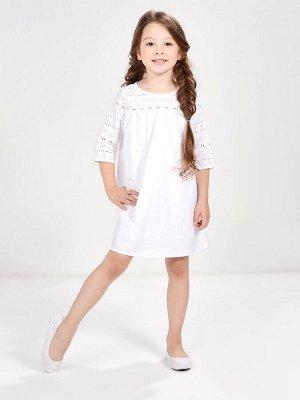 Платье с шитьем (98-122см) UD 6343(1)белый
