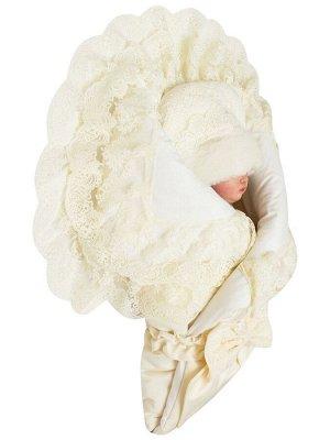 """Зимний Конверт-одеяло на выписку """"Милан"""" (молочный с молочным кружевом)"""